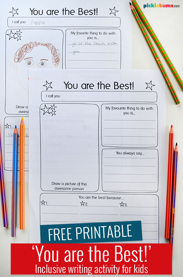 You are the best printable writing activity on table with pencils