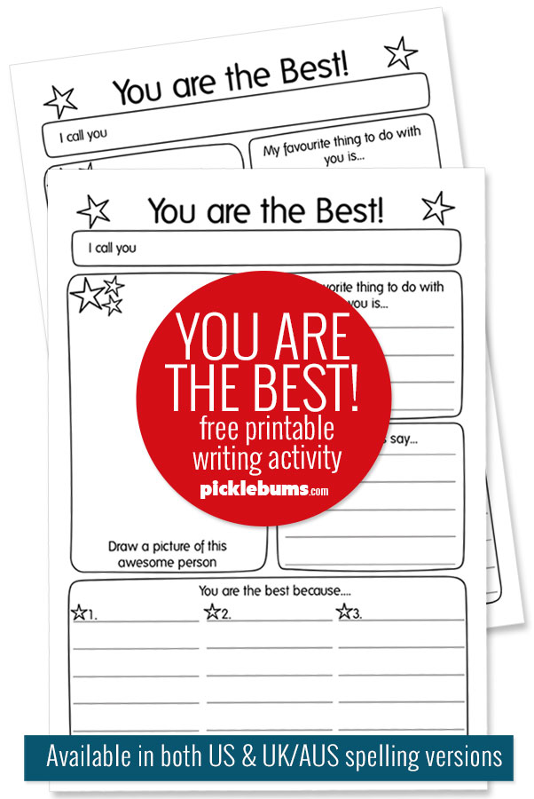 sample image of you are the best printable writing worksheets