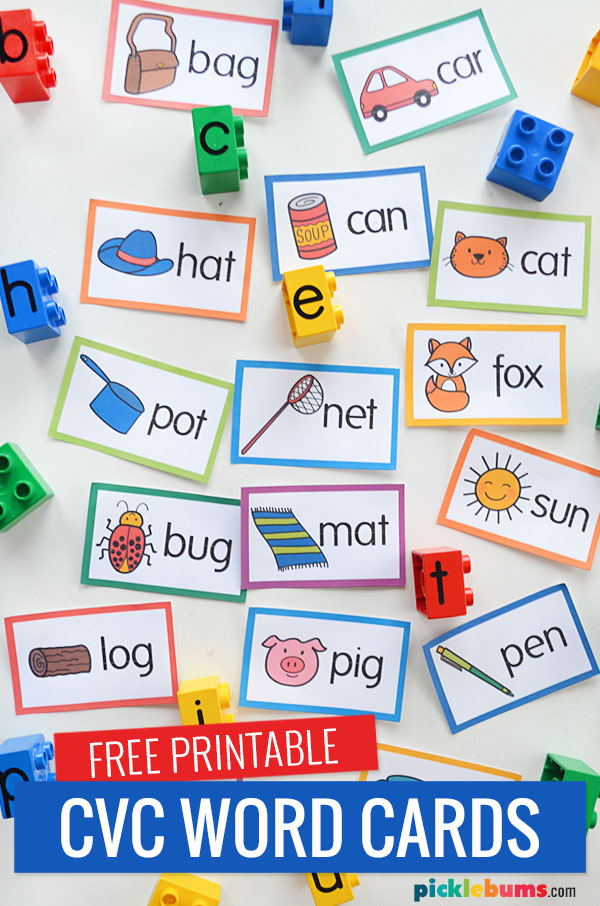 printed cvc word cards and duplo letter blocks