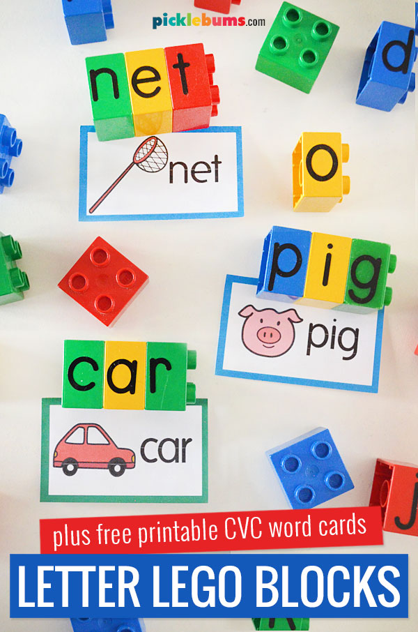 Letter lego blocks and CVC site word cards