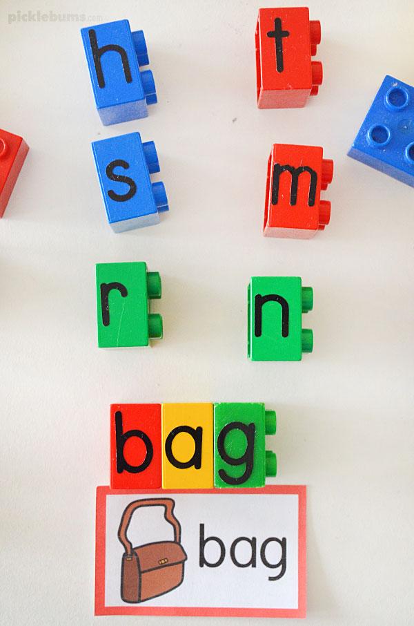 Lego letter blocks making cvc word blends
