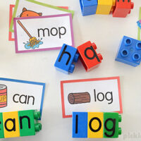 cvc word cards and duplo letter blocks
