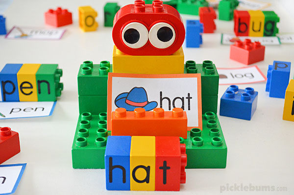 hat word card and lego letter word