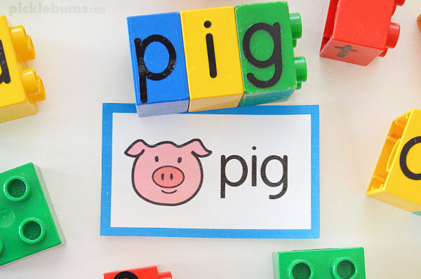 Lego letter blocks making the word pig