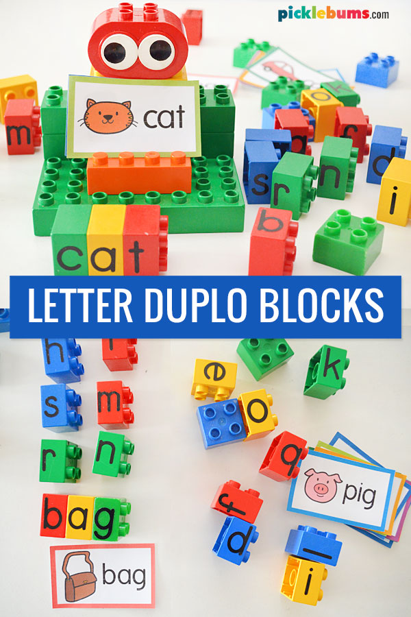 letter duplo blocks and cvc word cards