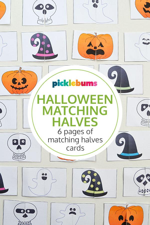 Halloween matching halves cards