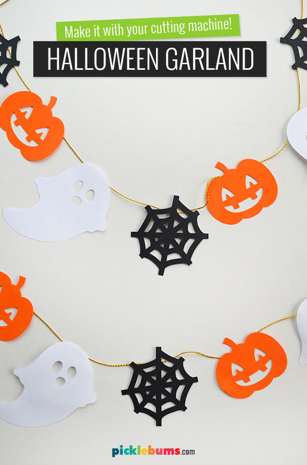 paper garland with halloween shapes