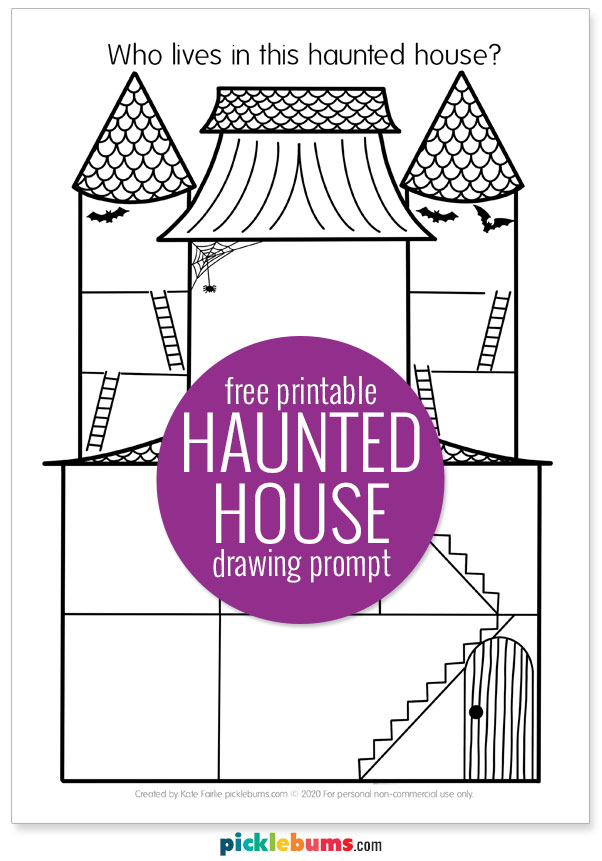 free printable haunted house drawing prompt