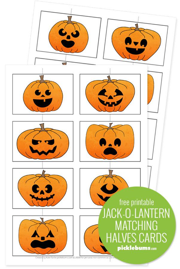 free printable jack-o-lantern matching cards