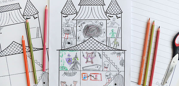 haunted house drawing pages and pencils on table