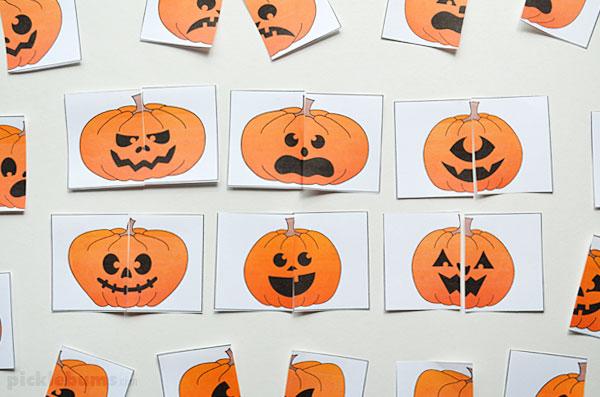 halloween pumpkin matching cards