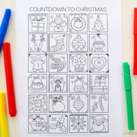 christmas countdown colouring page