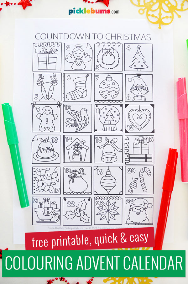 Colouring advent calendar page with markers