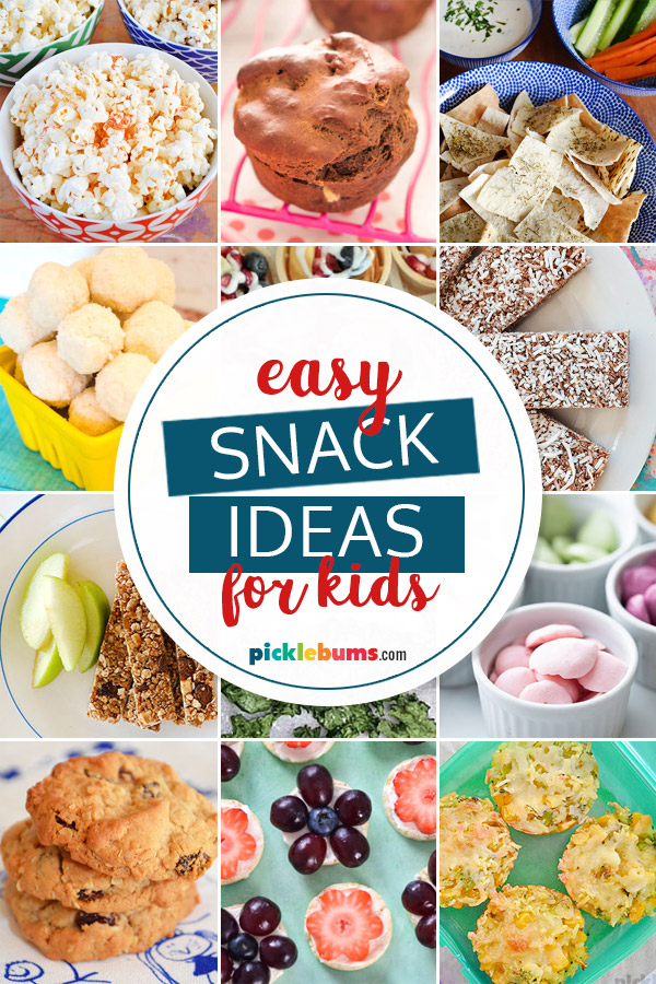 multiple photos of snack ideas for kids
