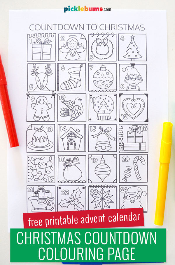 printed colouring advent calendar page
