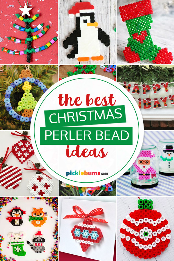 collage of christmas perler bead ideas