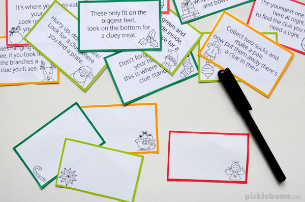 Christmas hunt blank clue cards and pen