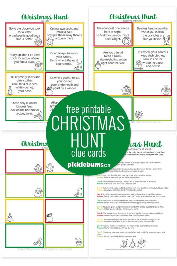 sample printable Christmas hunt pages