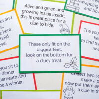 printed Christmas hunt clue cards