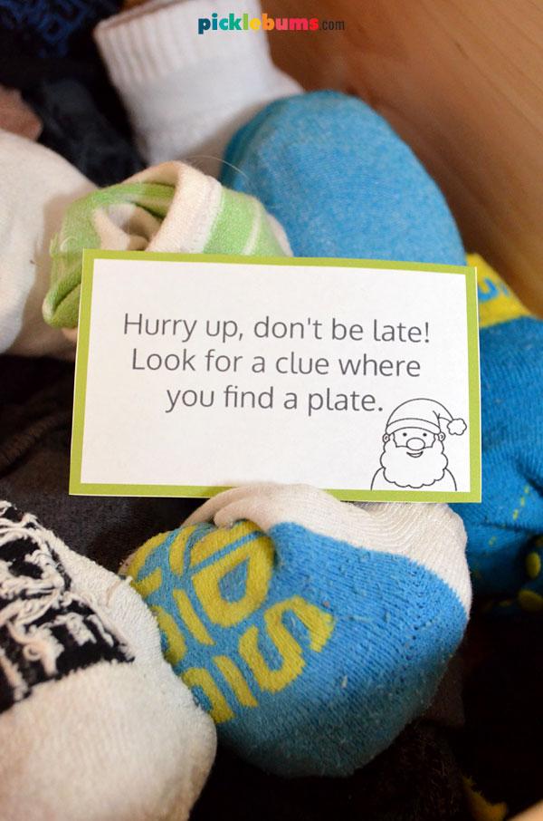 Christmas hunt clue in sock drawer