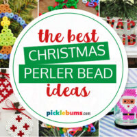 collage of different christmas perler bead ideas