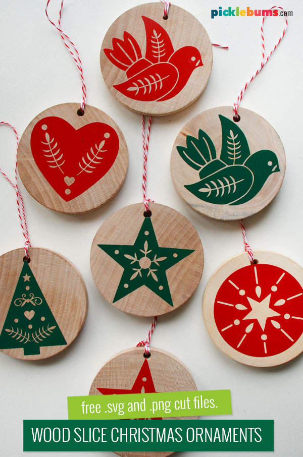 wood slice christmas ornaments with cut vinyl designs
