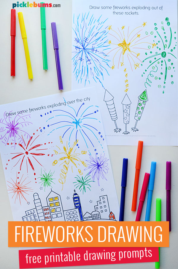 fireworks drawing pages and markers
