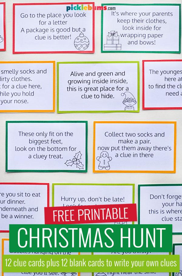 Christmas hunt clue cards