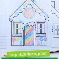 gingerbread house printed drawing and writing pages