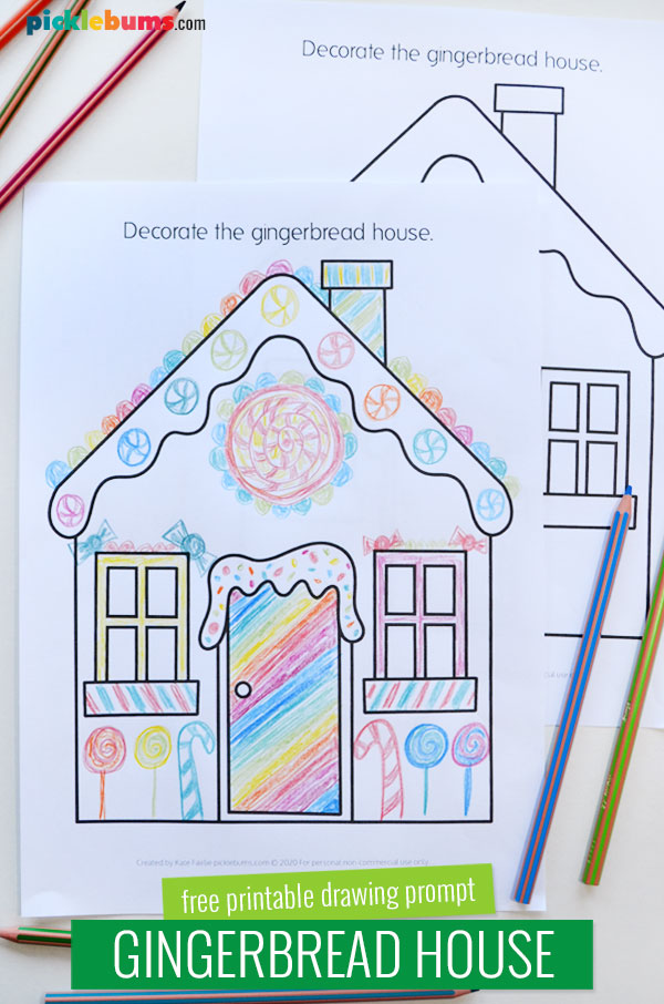 gingerbread house drawing printable