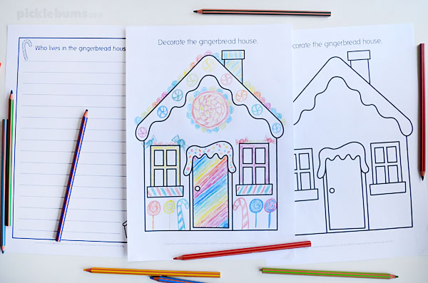 gingerbread house drawing and writing pages with pencils