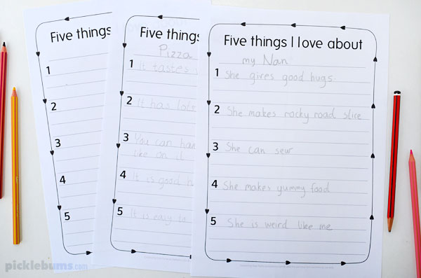 printed writing activity with kids writing on it