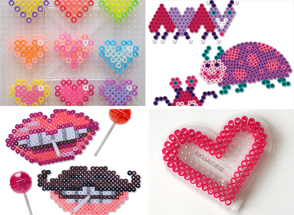 collage of valentines perler bead craft projects