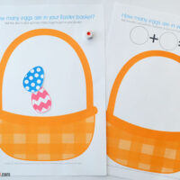 Easter basket counting eggs printable game sheets