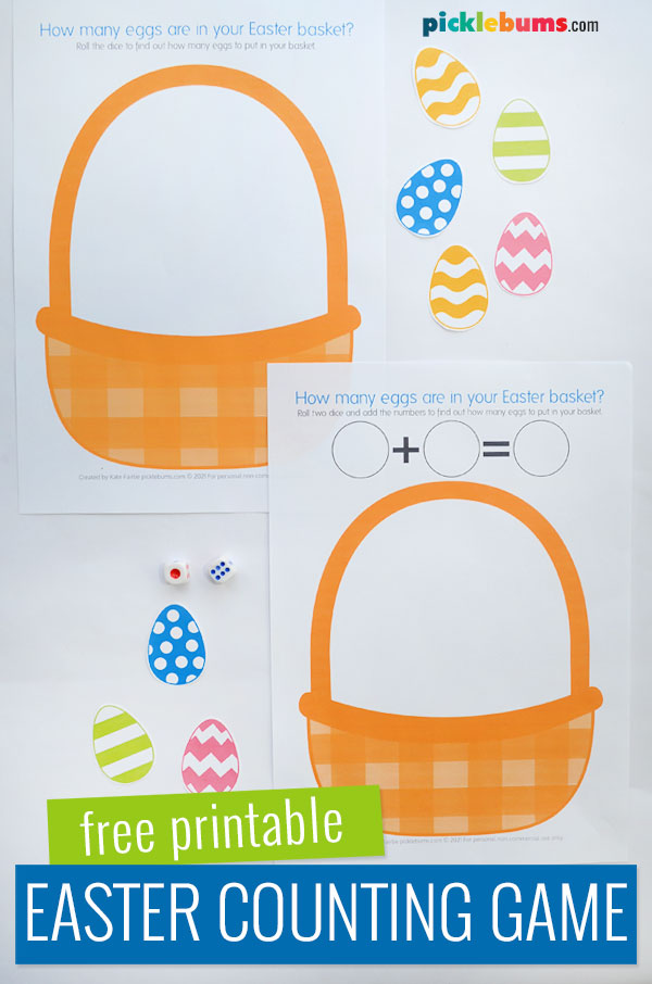 Easter basket printable counting game