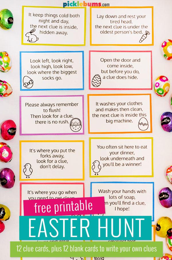 Easter hunt clue cards