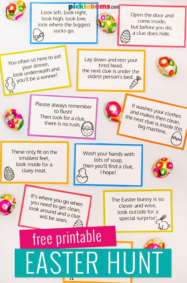 Easter hunt cards