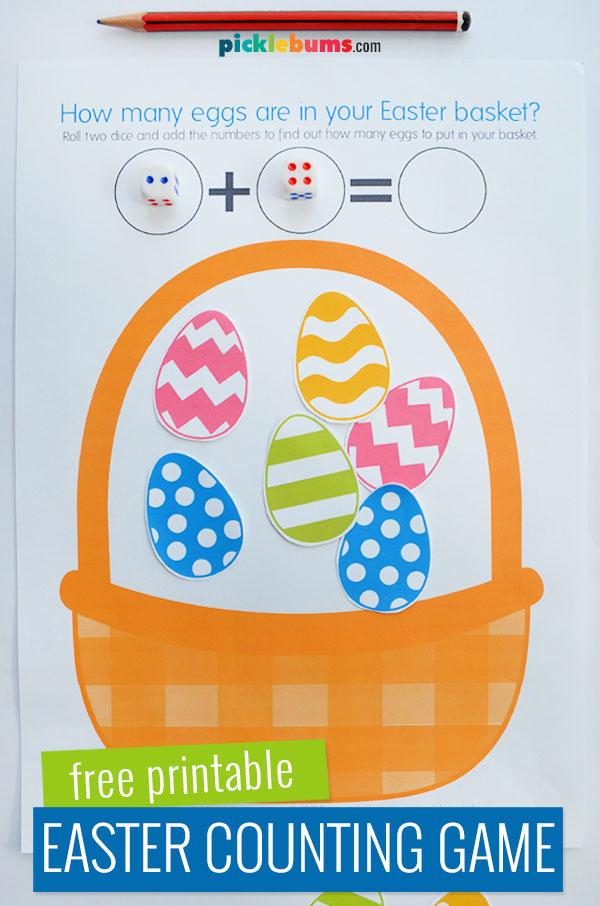 Easter basket dice game printable