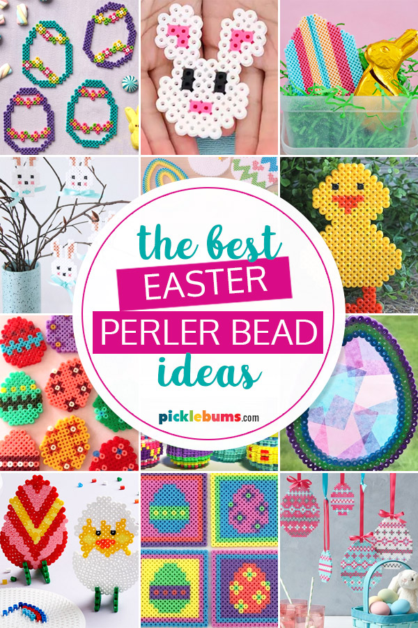 collage of Easter perler bead ideas