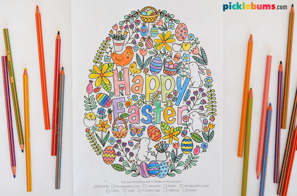 Easter colouring page with pencils