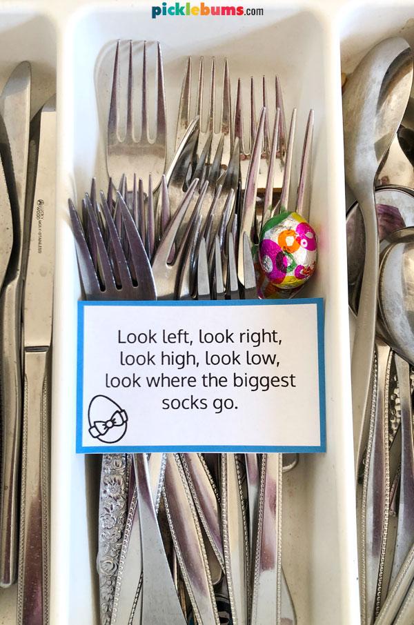Easter hunt clue in fork drawer