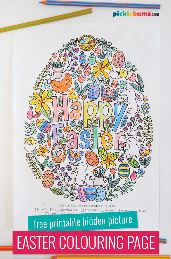 Easter colouring page coloured in