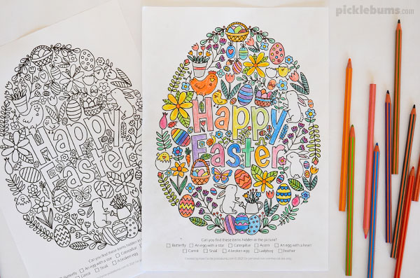 happy Easter colouring pages and pencils