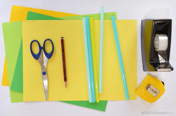 scissors paper pencil straws tape