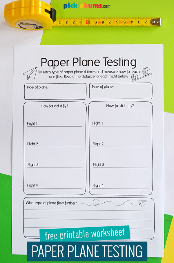 paper plane testing worksheet