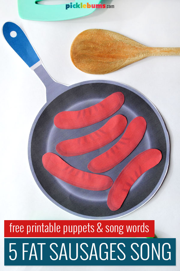 five fat sausages sizzling in a pan paper cut outs