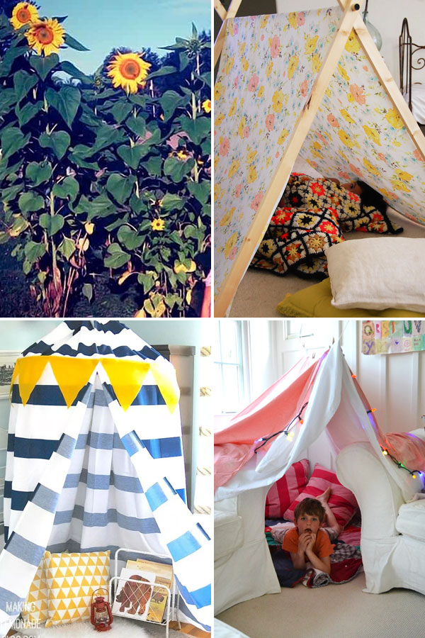 sunflower house, fabric play tent, hoop tent, couch fort.