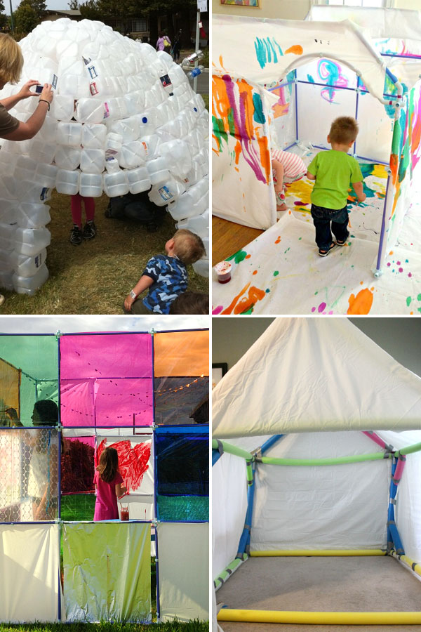 bottle igloo, painted fort, coloured fotr, pool noodle cubby house