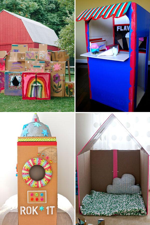 cardboard box fort outside, box shop, box rocket, folding box house.