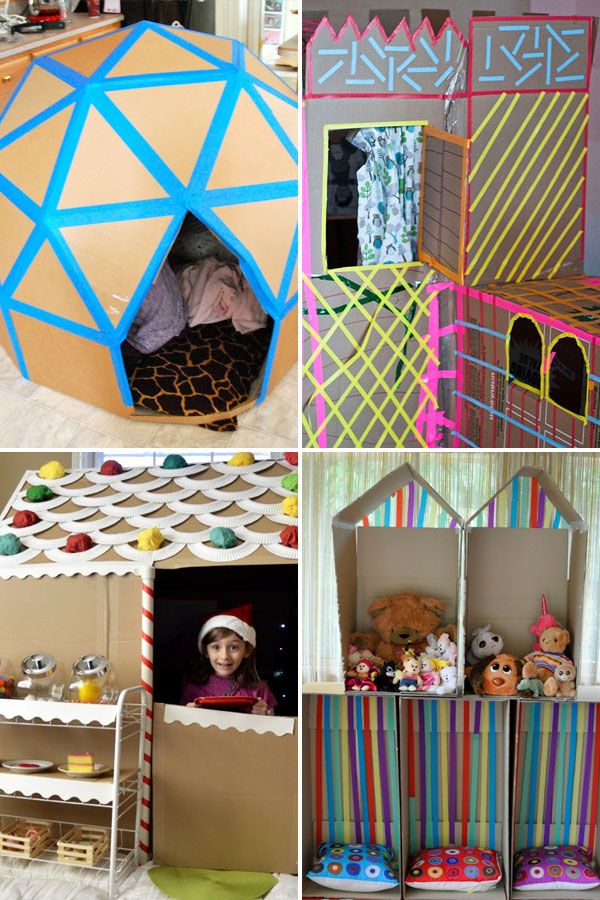 dome fort, cardboard box forts, and box gingerbread house